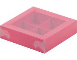 Коробка для конфет 4шт с пластиковой крышкой КРАСНАЯ