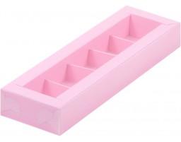 Коробка для конфет 5шт с пластиковой крышкой РОЗОВАЯ