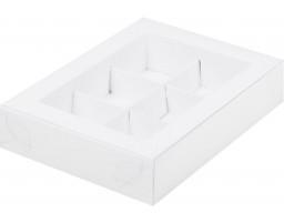 Коробка для конфет 6шт с пластиковой крышкой БЕЛАЯ