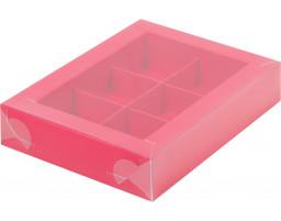Коробка для конфет 6шт с пластиковой крышкой КРАСНАЯ