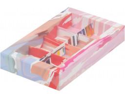 Коробка для конфет 8шт  с пластиковой  крышкой  АКВАРЕЛЬ СВЕТЛАЯ