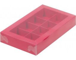 Коробка для конфет 8шт  с пластиковой  крышкой  КРАСНАЯ