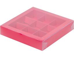 Коробка для конфет 9шт с пластиковой крышкой  КРАСНАЯ