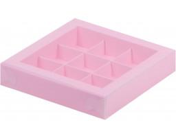 Коробка для конфет 9шт с пластиковой крышкой  РОЗОВАЯ