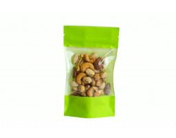 Пакет дой-пак бумажный Зеленый с прозрачным окошком и замком зип-лок 110х185