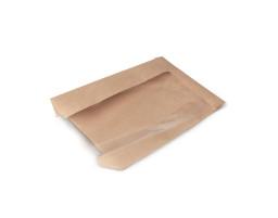 Пакет (556)  лам. жир.  с окошком, плоское дно (крафт) 250/90/395