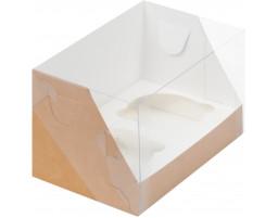 Капкейк на 2 с пластиковой крышкой (Крафт)