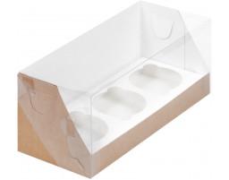 Капкейк на 3 с пластиковой крышкой (Крафт)