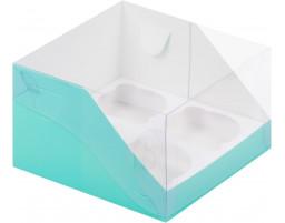 Капкейк на 4 с пластиковой крышкой (Тиффани)