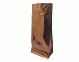 Пакет металлизированный золотой восьмишовный (с клапаном) 150х80х345