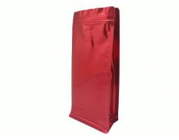 Пакет металлизированный красный  восьмишовный (с клапаном) 150х80х345