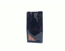 Пакет восьмишовный с плоским дном черный с треугольным окошком 110х55х225